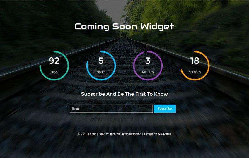 Coming Soon Widget Flat Responsive Widget Template Mobile website template Free