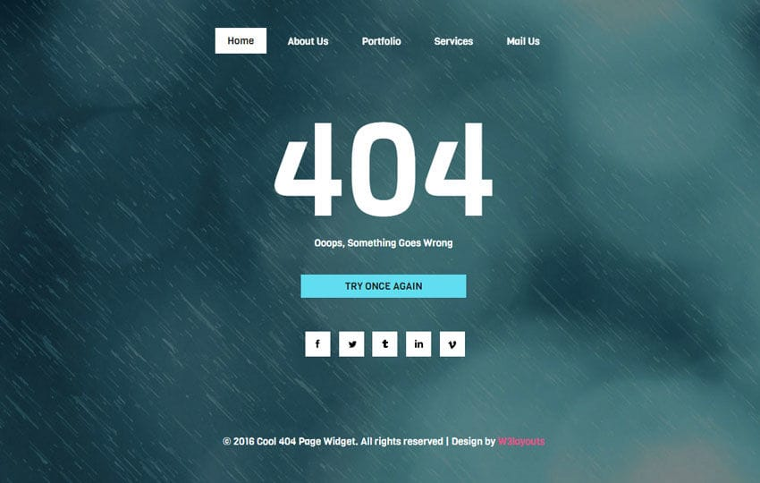 Cool 404 Page Widget Flat Responsive Widget Template Mobile website template Free
