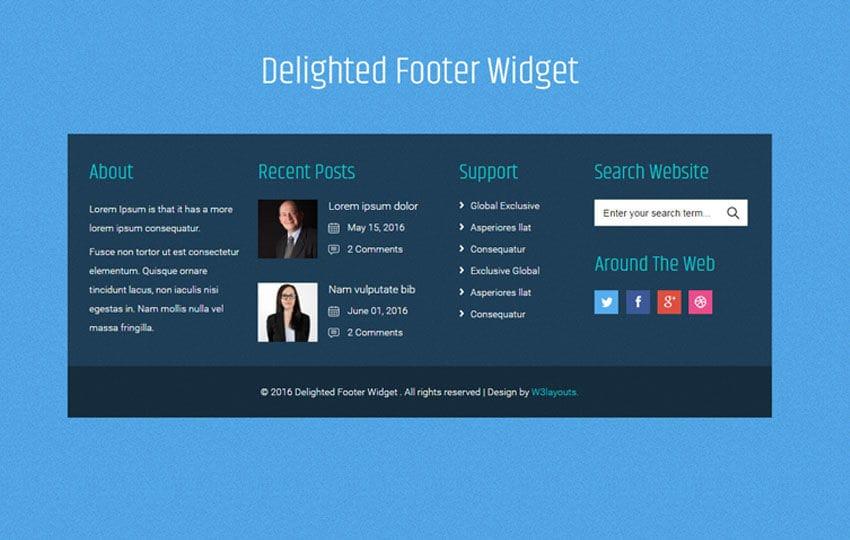 delighted footer widget flat responsive widget template