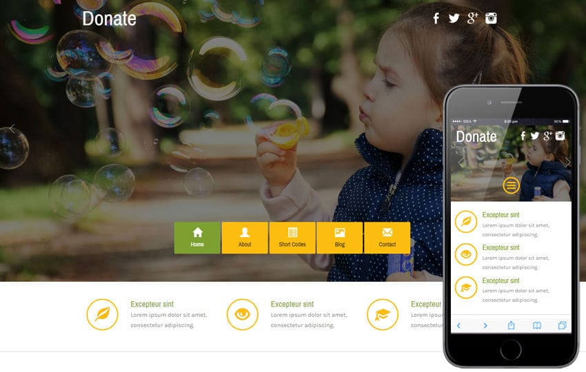 donate a social category flat bootstrap responsive web template