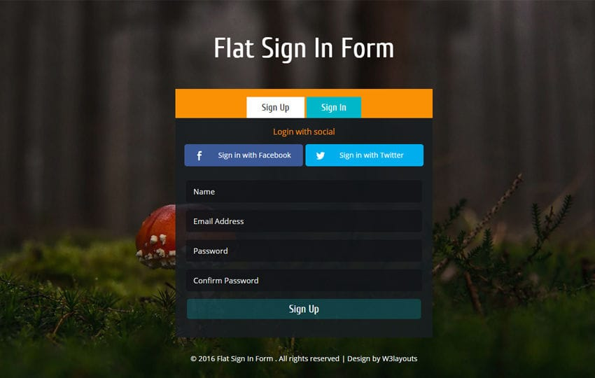 Flat Sign In Form Responsive Widget Template Mobile website template Free