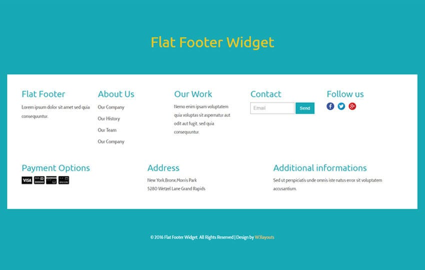 flat footer widget flat responsive widget template