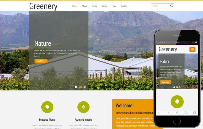 Greenery a Agriculture Category Flat Bootstrap Responsive Web Template Mobile website template Free
