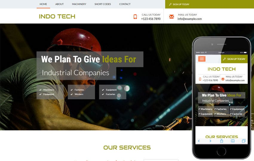 Indo Tech a Industrial Category Flat Bootstrap Responsive Web Template Mobile website template Free