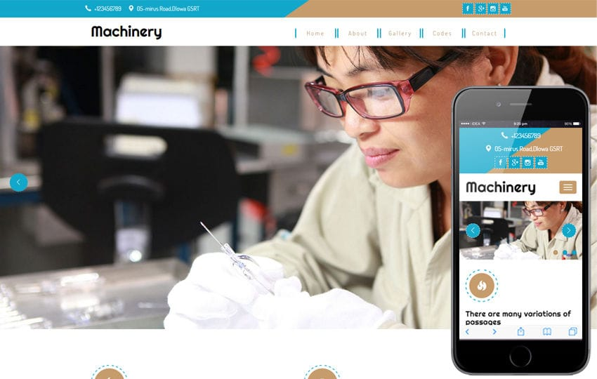 Machinery A Industrial Category Flat Bootstrap Responsive Web Template Mobile website template Free