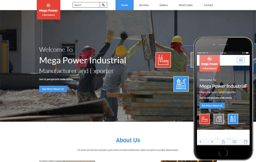 Mega Power a Industrial Category Flat Bootstrap Responsive Web Template Mobile website template Free