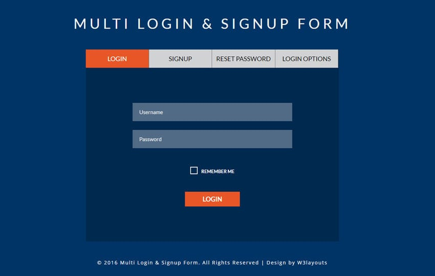 Multi Login & Signup Form A Flat Responsive Widget Template
