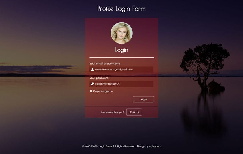 profile login form flat responsive widget template