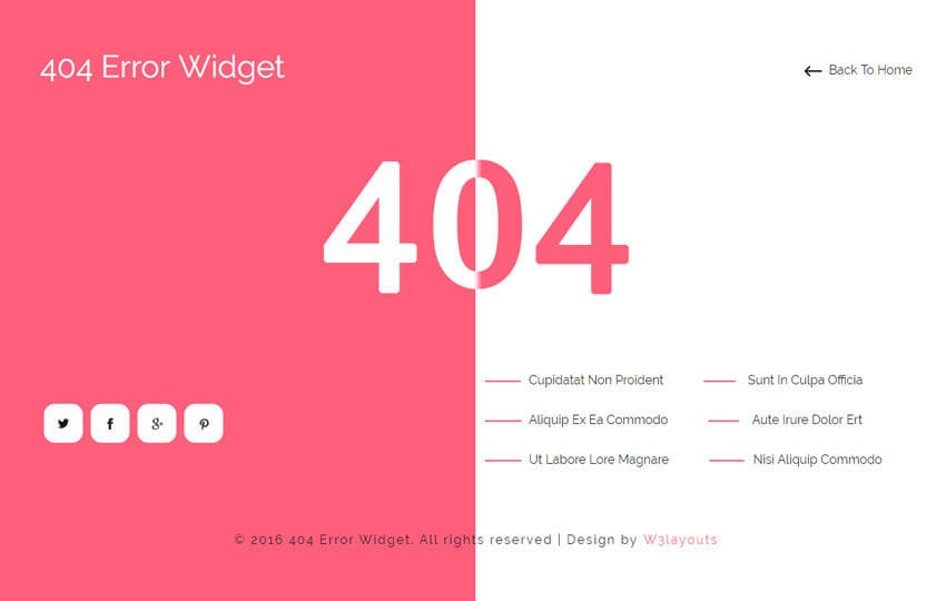 404 Error Widget Flat Responsive Widget Template Mobile website template Free