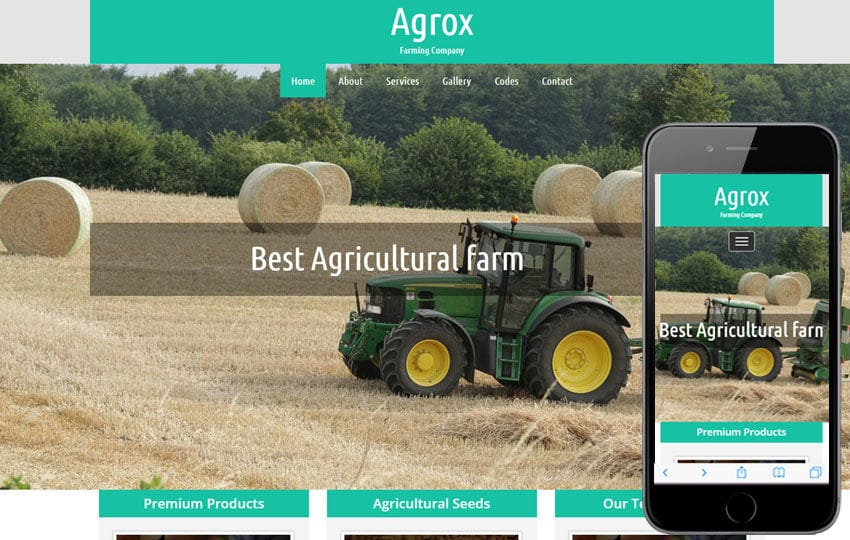 Agrox a Agriculture Category Responsive Web Template Mobile website template Free