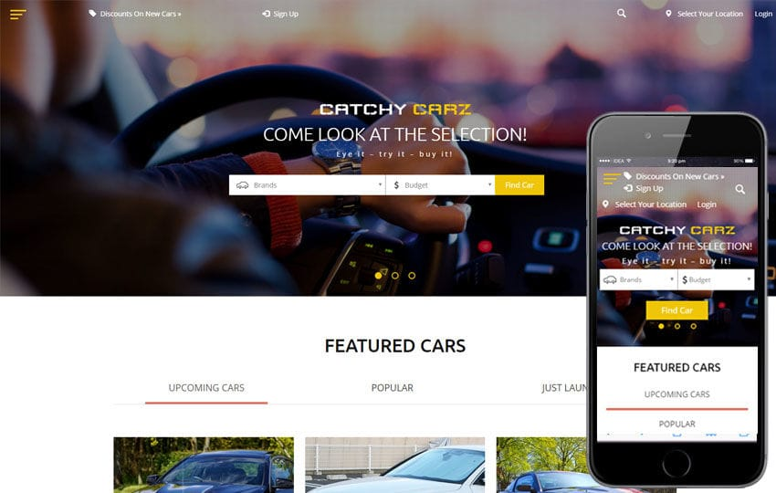 Catchy Carz classified ads Category Flat Bootstrap Responsive Web Template Mobile website template Free