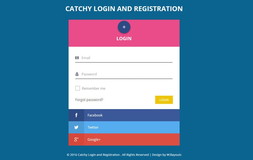 Catchy Login and Registration Flat Responsive Widget Template Mobile website template Free