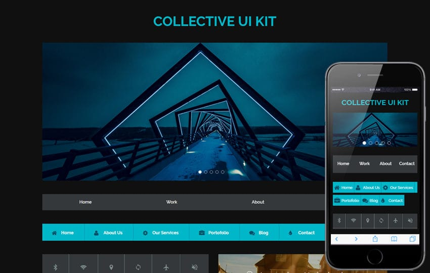 Collective UI Kit A Flat Responsive Website Template Mobile website template Free