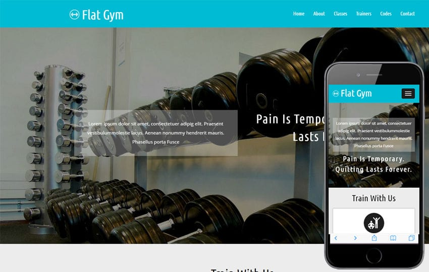 Flat Gym a Sports Category Flat Bootstrap Responsive Web Template Mobile website template Free