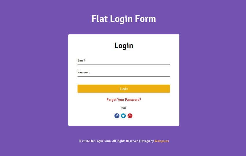 flat login forms 4 33. Black Bedroom Furniture Sets. Home Design Ideas