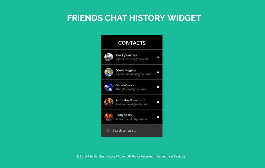 Friends Chat History Widget A Flat Responsive Widget Template Mobile website template Free