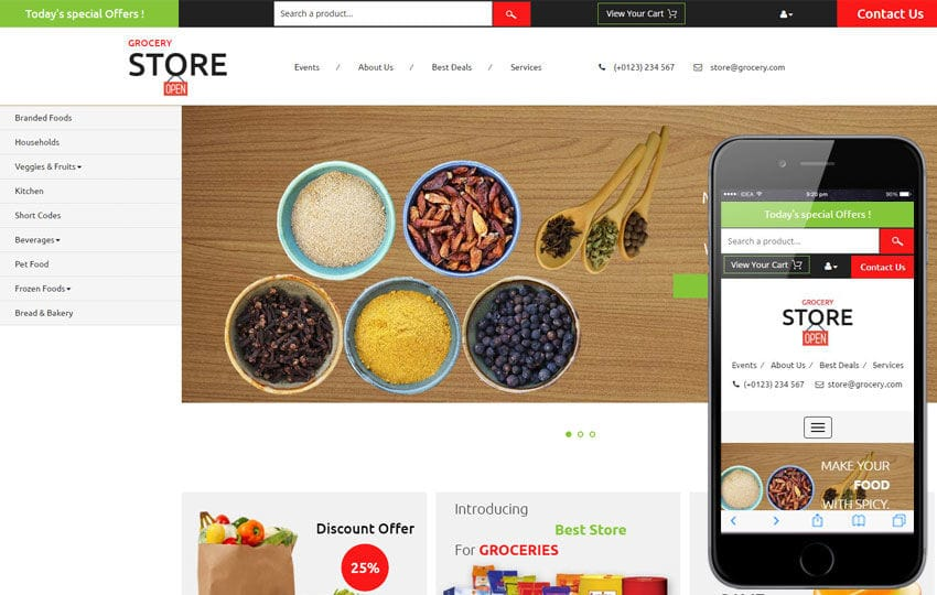 Grocery store a ecommerce category flat bootstrap for Online websites for shopping