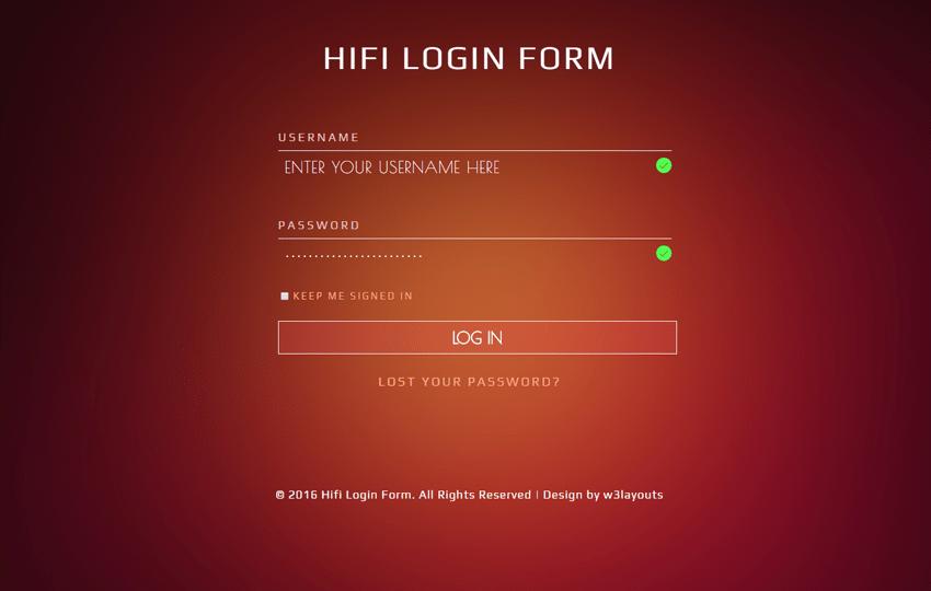 Hifi Login Form Flat Responsive widget Template Mobile website template Free