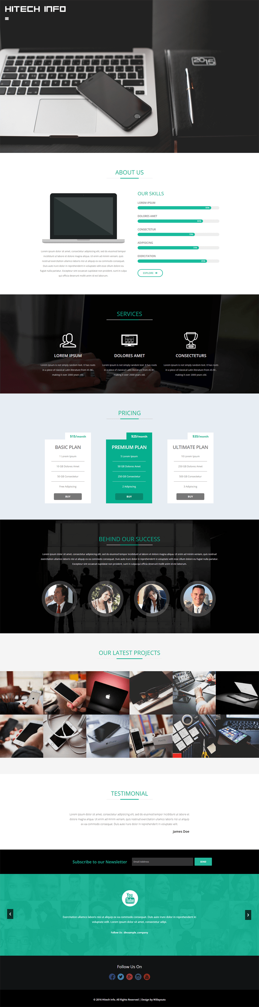 Hitech Info a Corporate Category Flat Bootstrap Responsive