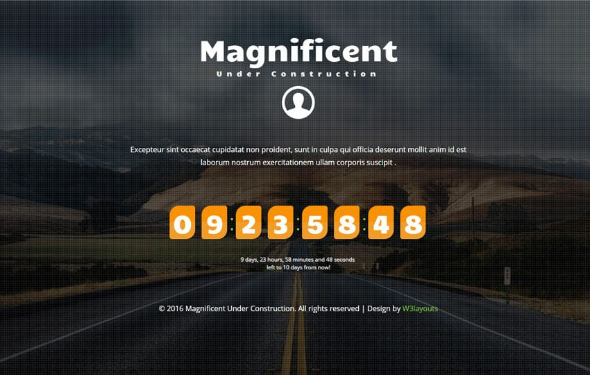 Magnificent Under Construction Flat Responsive Widget Template Mobile website template Free