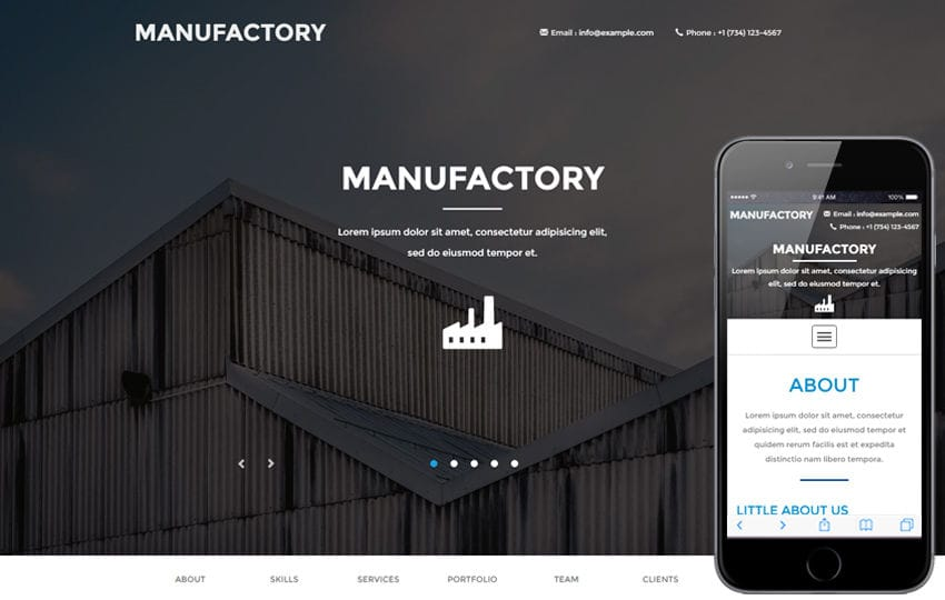 Manufactory a Industrial Category Flat Bootstrap Responsive Web Template Mobile website template Free