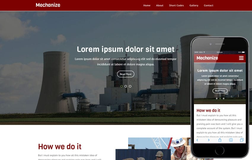 Mechanize an Industrial Category Flat Bootstrap Responsive  Web Template Mobile website template Free
