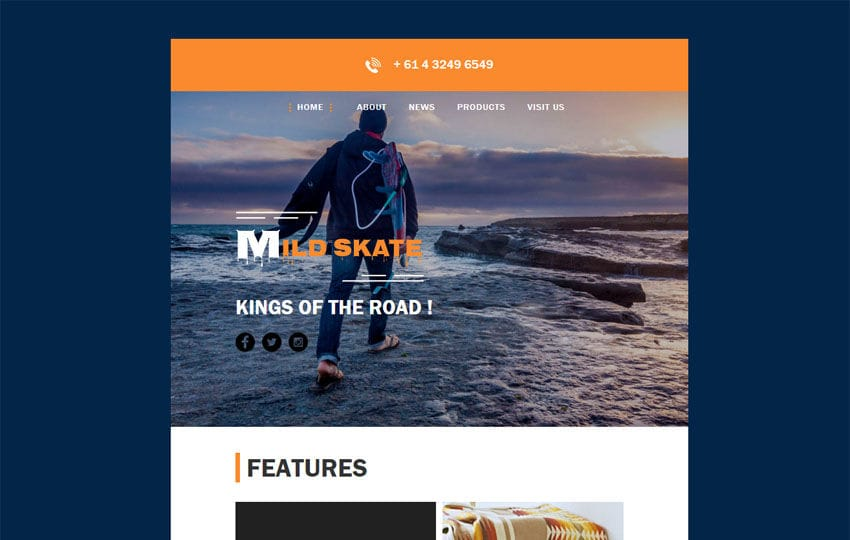 Mild Skate a Newsletter Template Mobile website template Free