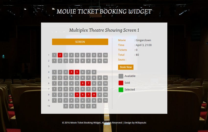 Movie Tickets w3layouts – Movie Theater Ticket Template