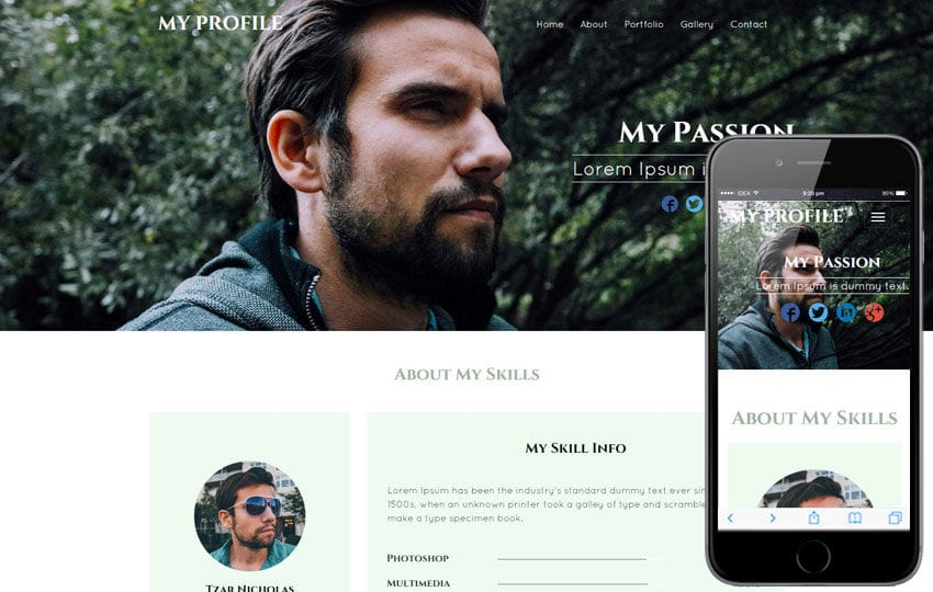 My Profile a Personal Portfolio category bootstrap Responsive  Web Template Mobile website template Free