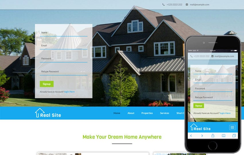 Real Site a Real Estate Category Bootstrap Responsive Web Template Mobile website template Free