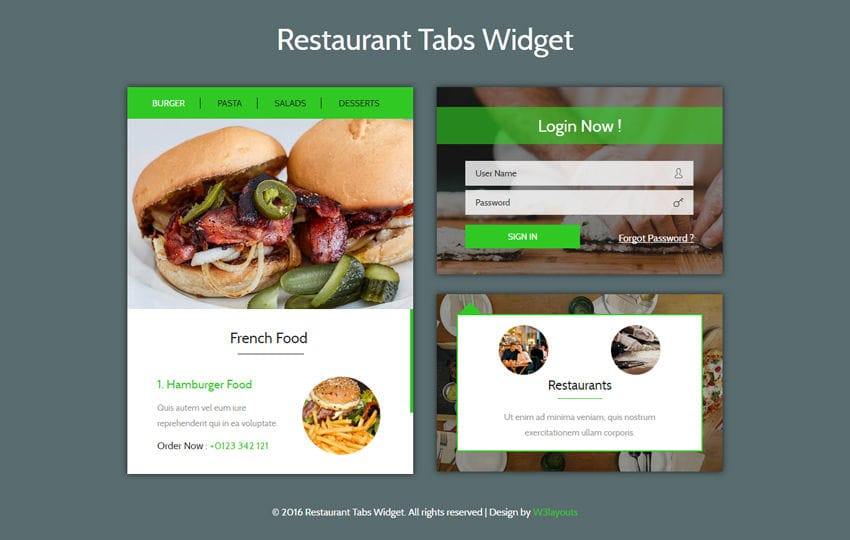 Restaurant Tabs Widget Flat Responsive Widget Template Mobile website template Free