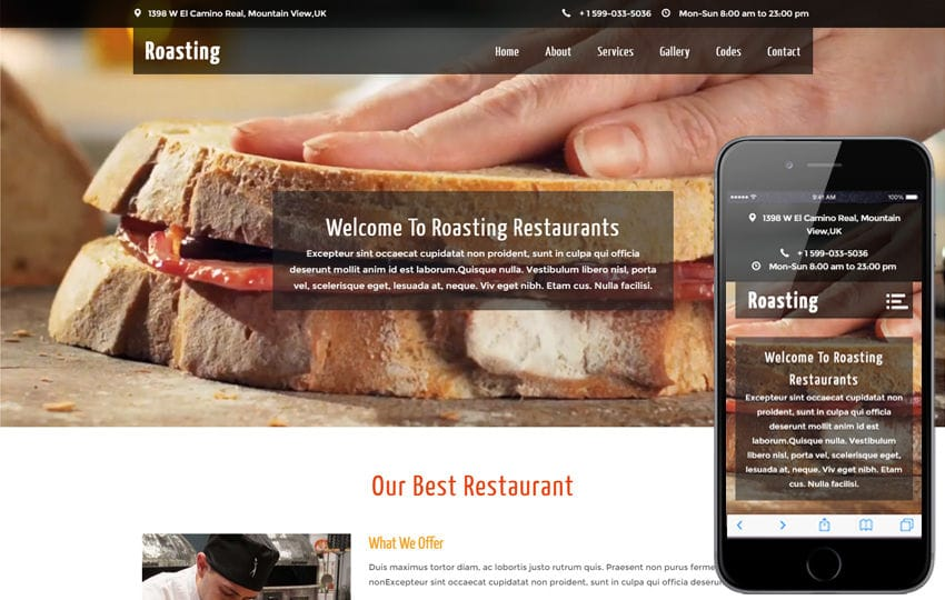 Roasting A Restaurant Category Flat Bootstrap Responsive Web Template Mobile Website Free