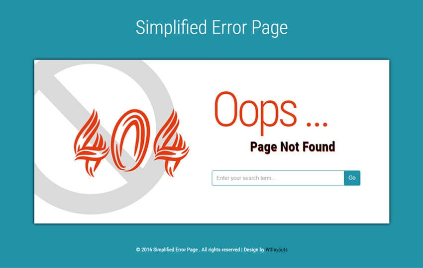 Simplified Error Page Flat Responsive Widget Template Mobile website template Free