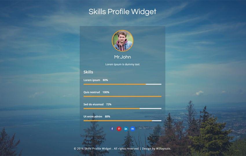 Skills Profile Widget Flat Responsive Widget Template Mobile Website Template  Free  Free Profile Templates