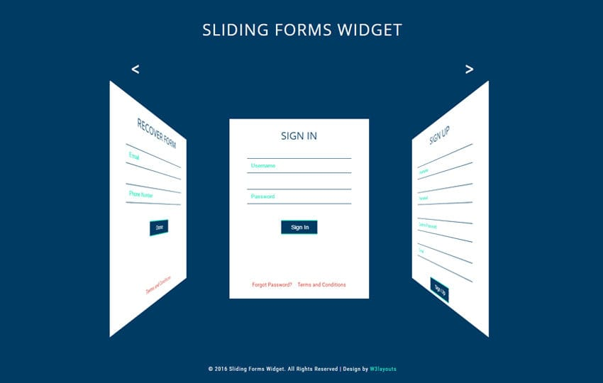 Sliding Forms Widget a Flat Responsive Widget Template Mobile website template Free