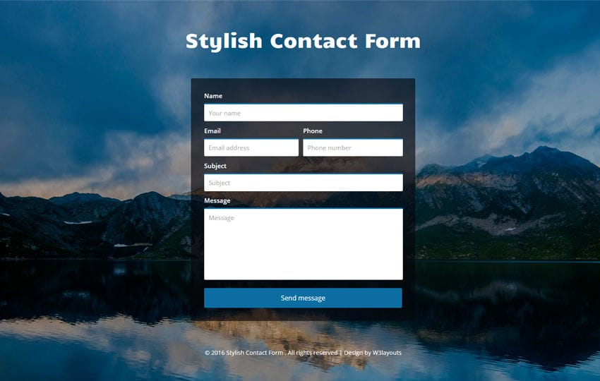 Stylish Contact Form Flat Responsive Widget Template Mobile website template Free