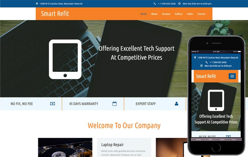 Smart Refit a Corporate Category Flat Bootstrap Responsive  Web Template Mobile website template Free