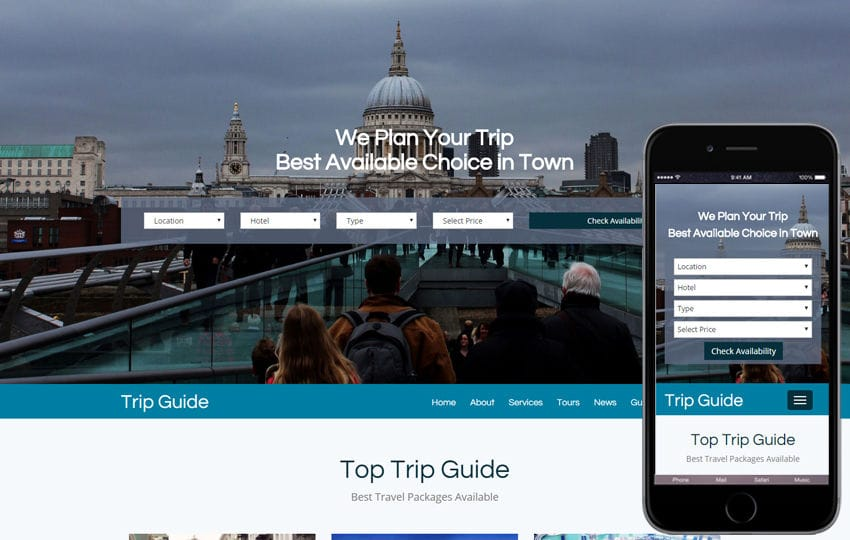 Trip Guide a Travel Agency Bootstrap Responsive web Template Mobile website template Free