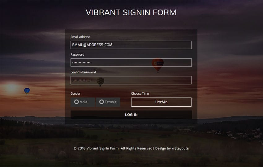 Vibrant Signin Form Flat Responsive widget Template Mobile website template Free