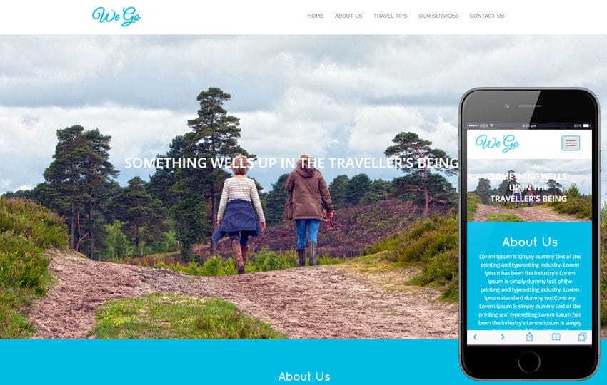 We go travel Category Flat Bootstrap Responsive Web Template Mobile website template Free