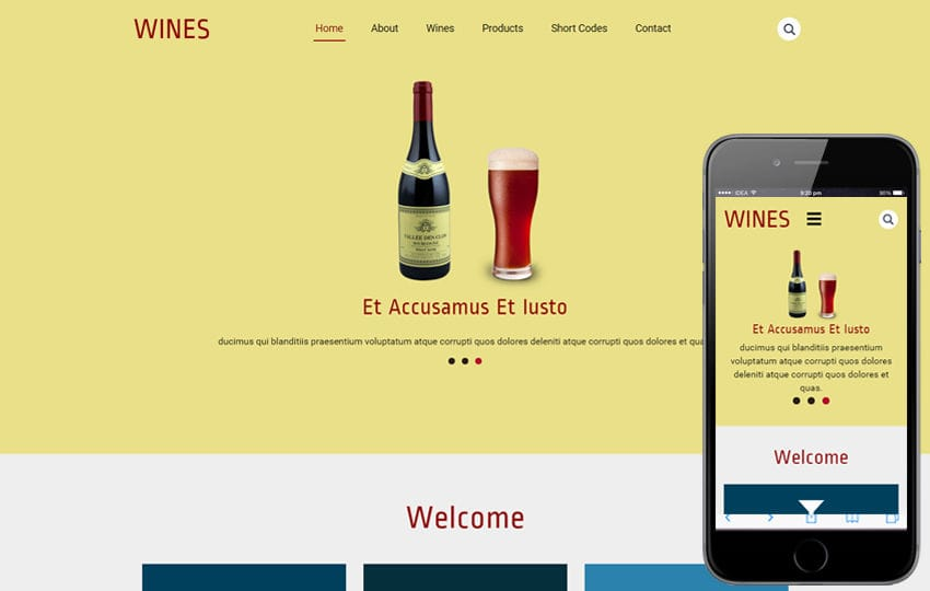 Wines a Restaurant category Flat Bootstrap Responsive  Web Template Mobile website template Free