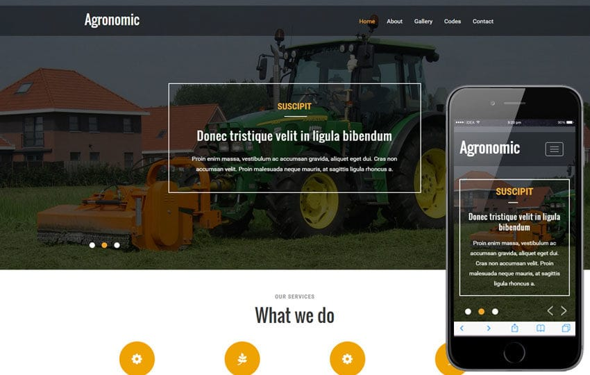 Agronomic a Agriculture Category Flat Bootstrap responsive Web Template Mobile website template Free