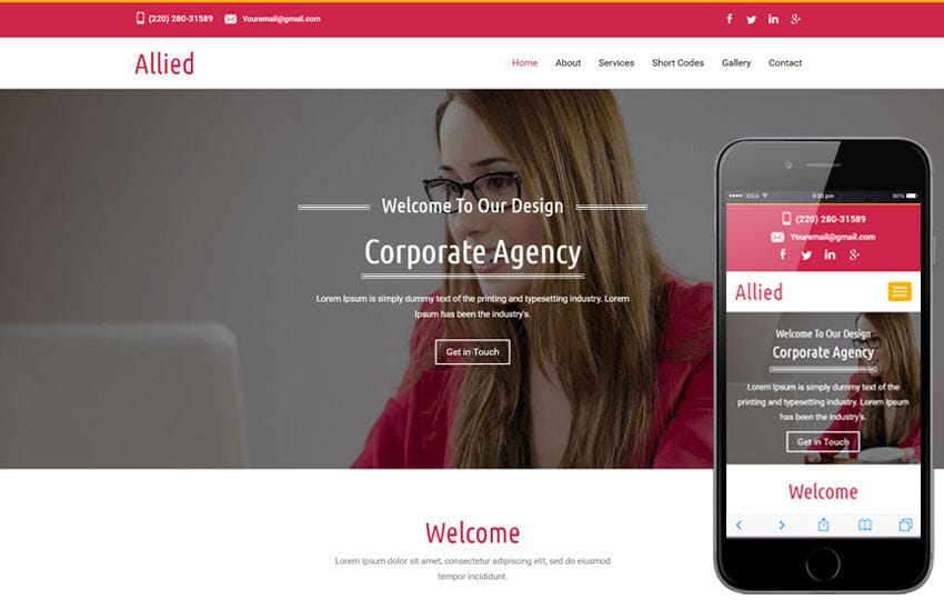 Allied a corporate Category Flat Bootstrap Responsive  Web Template Mobile website template Free