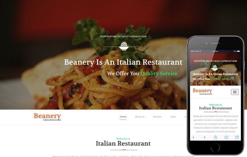Beanery a Restaurant Category Flat Bootstrap Responsive Web Template Mobile website template Free