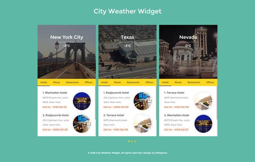 City Weather Widget Flat Responsive Widget Template Mobile website template Free