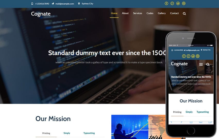 Cognate a Corporate Business Category Flat Bootstrap Responsive Web Template Mobile website template Free