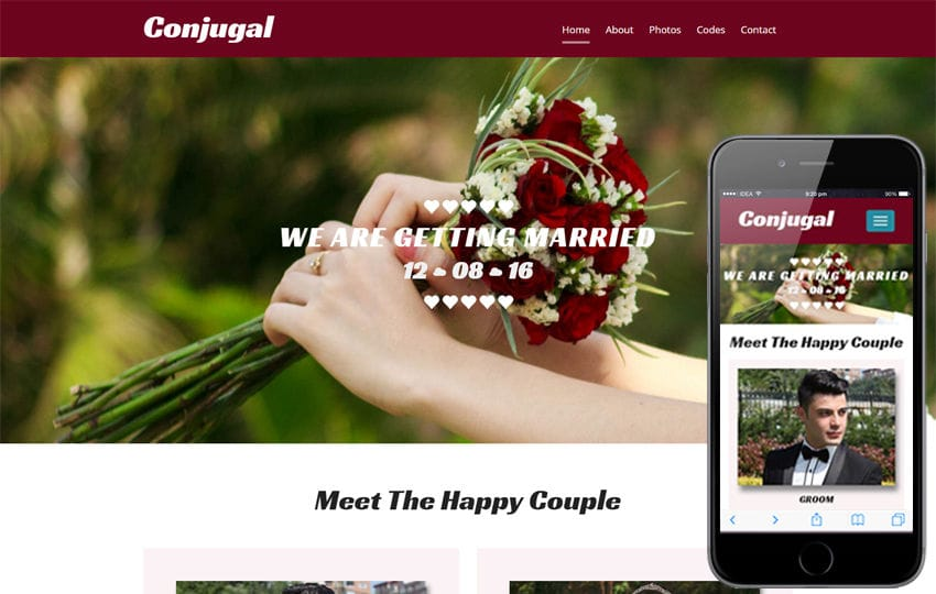 Conjugal a Wedding Flat Bootstrap Responsive Web Template Mobile website template Free