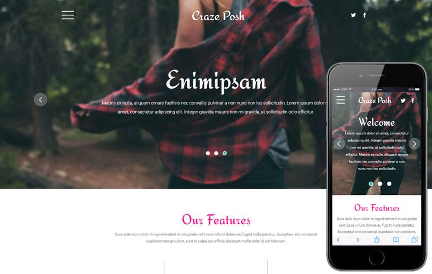 Craze Posh a Fashion Category Flat Bootstrap Responsive web Template Mobile website template Free