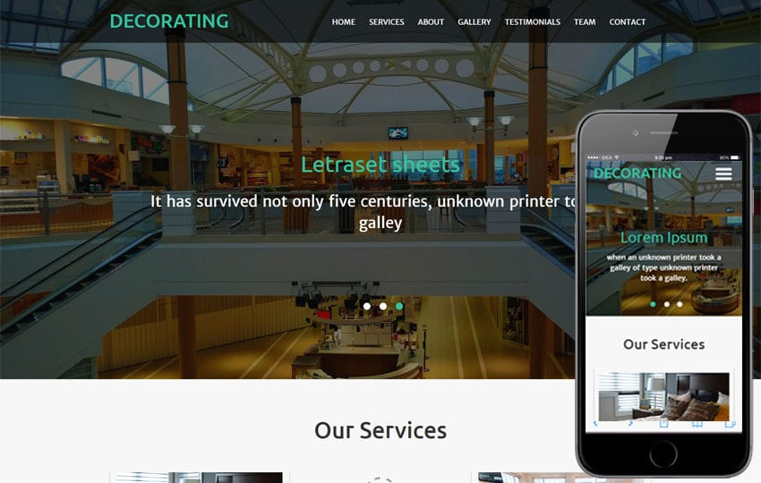 Decorating An Interior Category  Flat Bootstrap Responsive Web Template Mobile website template Free