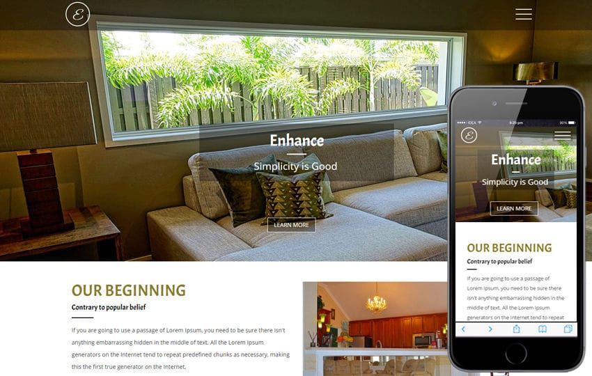 Enhance an Interior Category Flat Bootstrap Responsive Web Template Mobile website template Free